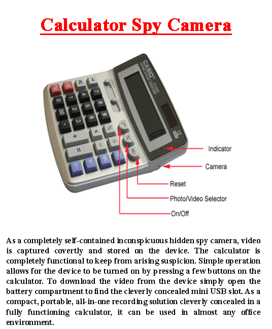 Calculator Spy Camera
